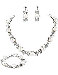 3b525f221ee1 Clearine Mujer Boda Nupcial Cristal Crema Perla Simulada Hoja De Flor  Collar Pendientes Colgados Pulsera Juego