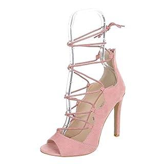 Peep Toe Damen-Schuhe Peep-Toe Pfennig-/Stilettoabsatz High Heels Reißverschluss Ital-Design Pumps Rosa, Gr 38, C7105-