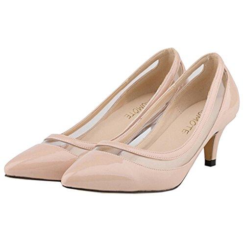 Apontado Sapatos parte Calcanhar Leather Bombas Nu 35 Merumote Patente Meio Senhoras Ue Vestir 46 5wpBpq