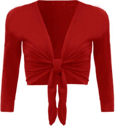 Femmes Grande Taille ficeler haussements d'épaules culture cardigans boléro tops red
