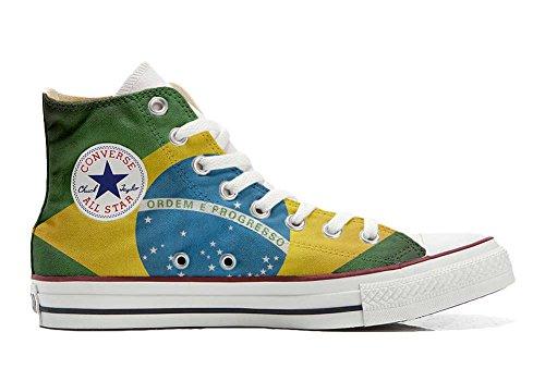 Converse All Star Chaussures Coutume Mixte Adulte (Produit Artisanal) le Drapeau du Brésil
