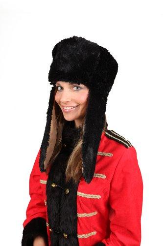 Kosaken Erwachsenen Kostüm Für - Orlob Fellmütze zum Russen Kosaken Kostüm an Karneval Fasching schwarz