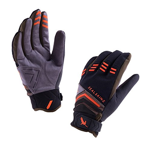 Sealskinz Dragon Eye MTB Gloves, Unisex, Dragon Eye MTB                                              , Black/Dk Olive/Orange, XL