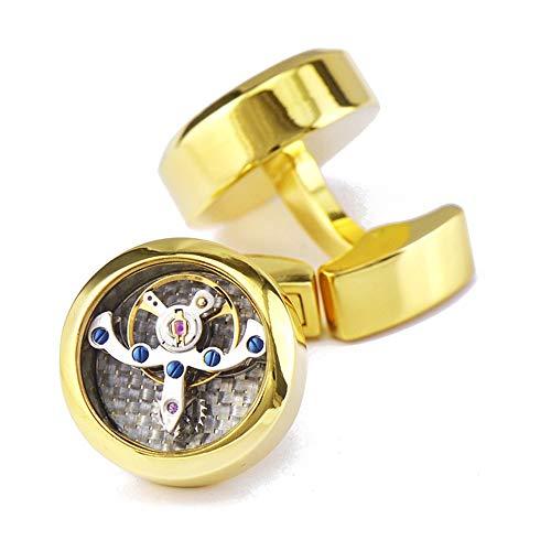 AdorabCufflinks Golden Tourbillon Reloj Movimiento Gemelos Brillante Hebilla Francesa