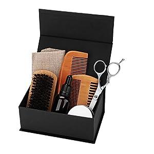 8pcs Bart Care Kit, Bart Haar Kamm, Ausrichtung und Trim, Bart Pflege glättende Feuchtigkeitscreme, perfekte Geschenk-Set für Männer