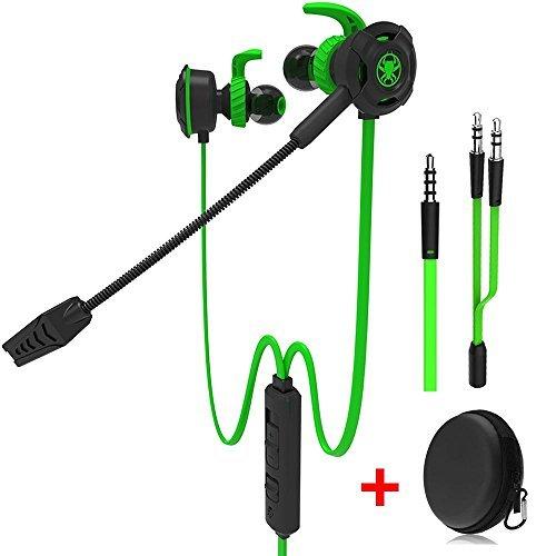 Kabelgebundener Gaming-Kopfhörer mit verstellbarem Mikrofon für PS4, Xbox, Laptop-Computer, Mobiltelefon, DLAND E-Sport-Ohrhörer mit tragbaren Taschen, weiches Design (Grün)