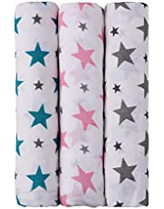 haus & kinder Twinkle Collection Cotton Soft Muslin Swaddle Wrap for New Born Baby - Pack of 3 (100 x 100 cm, Pink, Grey, Turquoise)
