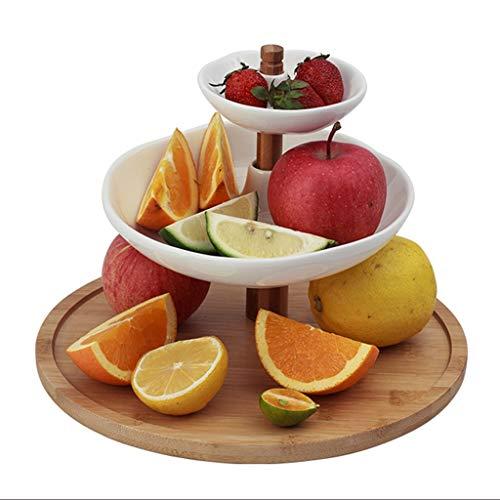 C-J-Xin Assiette à trois niveaux, assiette de desserts pour salle de réception Assiette à gâteaux Plateau de fruits Clubhouse Plateau de gâteaux Hôtel assiette 26.5 * 26.5 * 20CM plat de fruits