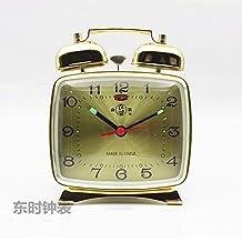 Clásico Metal Mecánico Reloj Despertador Cuerda Manual Antiguo Nostalgia Estudiante Cabecera Herradura Reloj Luz De Noche