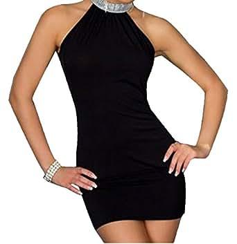 Halter neck Diamanté Detail Dress Size 8-10-12 Black,Blue,Pink & Green available (Black)