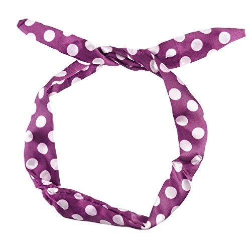 men Wire Stirnband Flexible Ohren Haar Mode Zubehör, Retro Party Look Pin up Bunny Ohren, Breite 4cm, Länge 80cm (1,5 x 31 Zoll) (Big Dot Lila & Weiß) (50er Jahre Pin Up Girls)