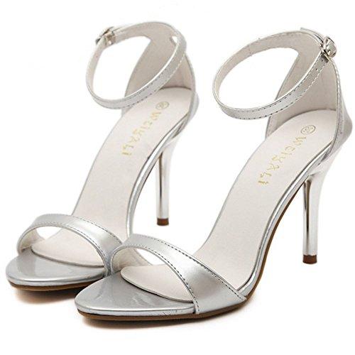 COOLCEPT Damen Mode Knochelriemchen Sandalen Open Toe Stiletto Schuhe Silber