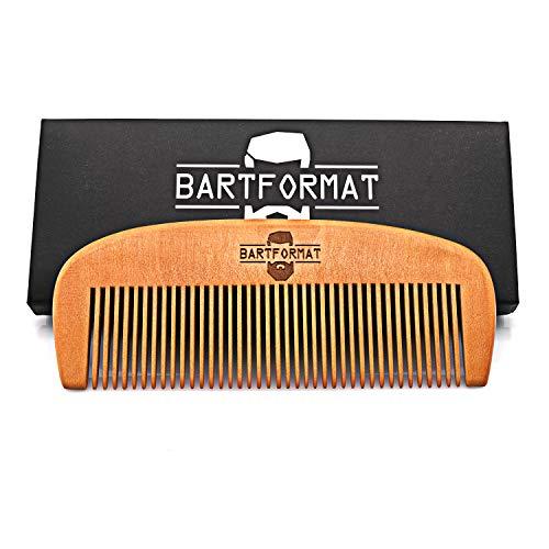 (BARTFORMAT Bartkamm groß (13 cm) aus 100% Birnbaumholz - Stabiler, Antistatischer Bart Kamm)