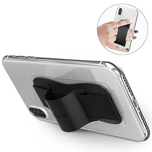 Sinjimoru Fingerhalter Handy. Bequeme Smartphone Fingerhalterung, die auch als Stabiler Handy Ständer verwendet Werden kann. Handy Halter für Alle Handys. Sinji Grip, Schwarz.