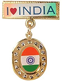 Dhwaj Indian Flag Coat Pin / Brooch / Badge For Clothing Accessories (Pack Of 12)- Hanging National Flag Pin With...