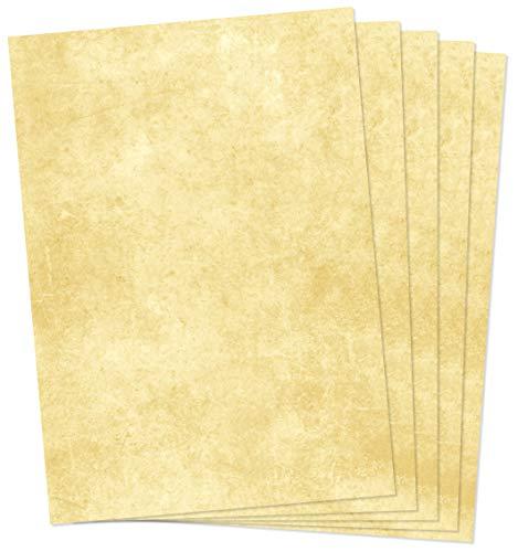 Clever Pool 25 Blatt Briefpapier, Urkundenpapier, Vintage, marmoriert, hochwertige 120g/qm Qualität, beidseitig, Mittelalter Papier, freundliche Farbe