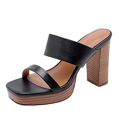 MENGLTX High Heels Sandalen 2019 New Echtes Leder Pantoletten Frauen Klassische Chunky High Heels Hausschuhe Plattform Frauen Schuhe Frau 8,5 Schwarz -