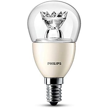 Philips 6W E14 Bombilla LED esférica transparente 6 W, Blanco