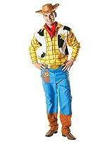 Eroe di cartone animato Disney Toy Story ufficiale formato adulto costume costume di Woody comprende un top a maniche lunghe gialla con finto gilet stampata designtrousers fazzoletto rosso e un cappello da cowboy marrone.