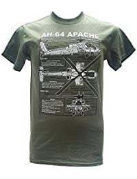 Apache AH-64 Helicopter - United States Army / Military T Shirt with blueprint design