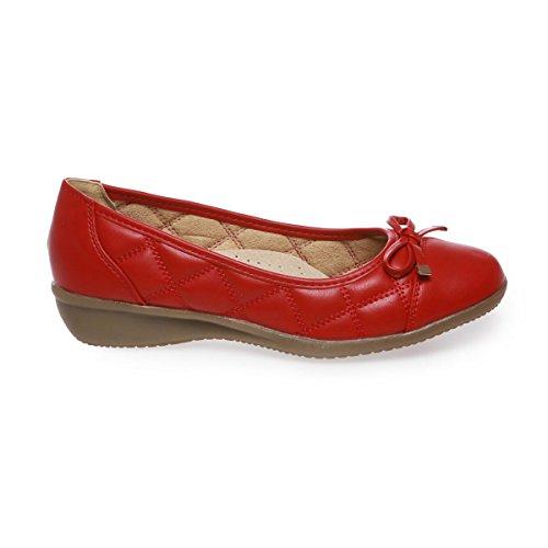 Moglie Fashionista Ballerine Rosso La Trapuntata Aspetto 04wY7q