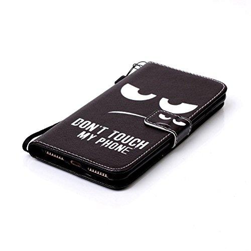 """iPhone 7 Plus Coque Noir Cuir Portefeuille Etui Rabat Style Coloré Peinture Image ( Warning Don't Touch My Phone ) Case pour Apple iPhone 7 Plus 5.5"""" Noir-2"""