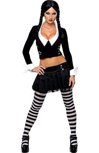 Fancy Me Deluxe lizensiert Damen Sexy WEDNESDAY ADDAMS FAMILY Halloween 60s Jahre Kostüm Kleid Outfit mit Strumpfhose UK 6-14 - Schwarz, Schwarz, UK 12-14
