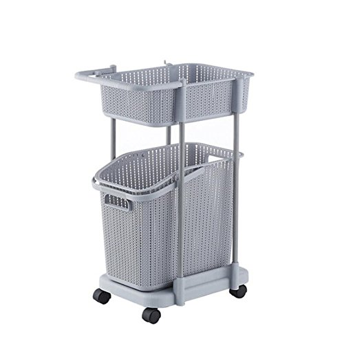 Z@SS Multi-Tier Basket Stand Kitchen Bathroom Material PP Rolling Storage Carrito Con Ruedas, Basket Con Mango Y Cesto De Ropa Extraíble, Storage Rack,Gray,2Tier