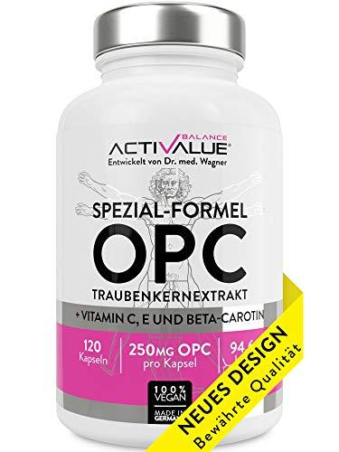 ACTIVALUE Premium-OPC Traubenkernextrakt - Dr.med.Wagner Erfolgs-Formel - 4-Monatspackung mit 250mg OPC pro Kapsel (525mg Traubenkernextrakt), 100% vegan, verstärkt durch Vitamin C, E, beta-carotin