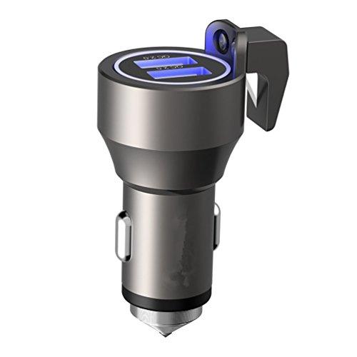 USB Notfall Escape Werkzeug Lebensrettung Rescue KFZ-Ladegerät, Spring Loaded Fenster vorzubeugen, Sicherheitsgurt Cutter, Dual 2,4A USB-Anschlüsse–Grau
