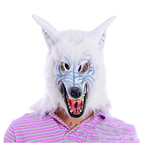 Latex Creepy White Wolf Kopf Horror Maske Bar Party Kostüm Dekoration ()