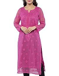 ADA Needlecraft Lucknow Chikan Regular Wear Faux Georgette Kurti Kurta A130755