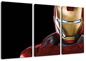 dark iron man motiv 3 teilig auf leinwand gesamtformat. Black Bedroom Furniture Sets. Home Design Ideas