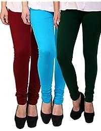 Anekaant Cotton Lycra Women's Legging Pack of 3 (Maroon, Light Blue, Dark Green)