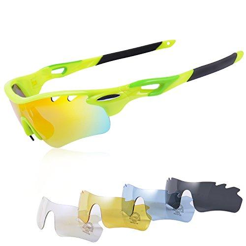 Gepolariseerde fietsbrillen met 5 Verwisselbare lenzen Sportbrillen Antifog Antireflectie Anti-wind en UV aangepast aan sport Running Race MTB-fiets voor heren en dames
