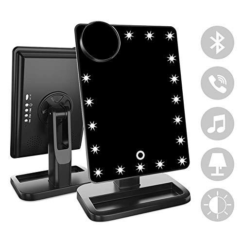 Espejo De Cortesía Con Bluetooth, Espejo Iluminado Recargable 20 LED, Espejo De Maquillaje Con La Pantalla...