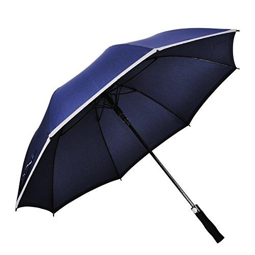 """60"""" paraguas del golf, deportes Ambrellaok, a prueba de viento, impermeable y Anti-uv Auto abrir paraguas de gran tamaño sol-lluvia recto grande hombres con ribetes reflectantes seguro (azul marino)"""