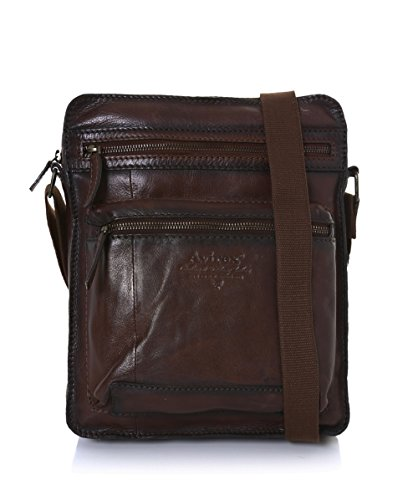 Avirex Uomo Wildfire Messenger Bag in pelle Rosso & Marrone Unica Taglia
