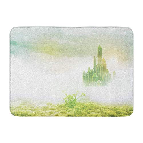 LIS HOME Badteppich Flanell Stoff weich saugfähig gelb Zauberer Smaragd Stadt im Nebel grün Straße Ziegel gemütliche dekorative rutschfeste Speicher Badezimmer Teppich -