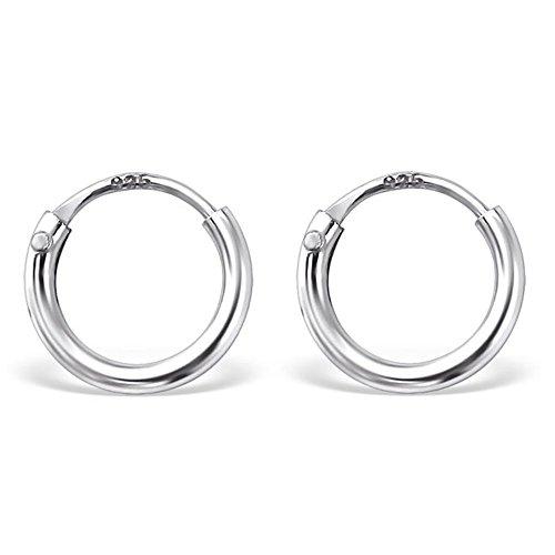 Bungsa silberne CREOLEN 925 Silber für Damen & Herren - SILBER - klassisches Kreolen Ohrringe Set für Frauen & Männer - schlichte, silberne Klapp-Creolen - silberne Ohrringe zum Klappen