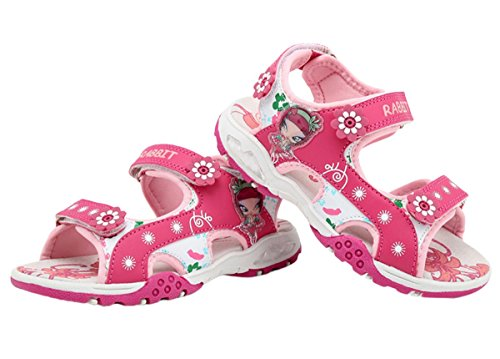 FEOYA - Sandales de Marche Randonnée Fille Bout Ouvert Cuir à Scratch Plage - 4 Couleurs Taille 25-37 Rose - rose