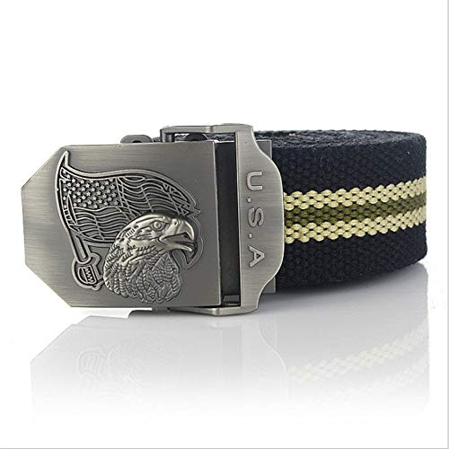 YUANZYYD Tactical Belt,Black Stripes Luxury Usa Eagle Canvas Belt Alloy Buckle Military Men Belt Army Tactical Belts for Men Male Strap,160Cm - Eagles Black Metal