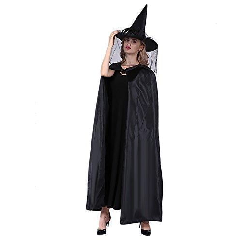 Funpa Halloween Umhang, Damen Schwarzer Umhang Halloween Mäntel Fasching Kostüm Cosplay Kostüm Dekoration mit Hexenhut Schwarzer