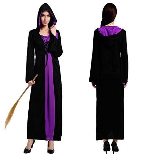 Vampir Robe Mit Kapuze,Erwachsene Frau Elegantes HexenkostüM,Halloween Weihnachten BüHnenkleidung Party-Rollenspiele,Karneval,KöNigin - Damen Deluxe Hooded Robe Kostüm