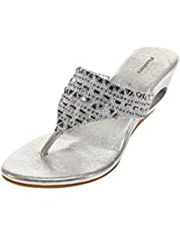 Khadims Women Silver Faux Leather Sandal