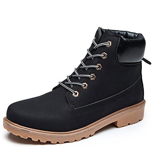 Damen Herren Worker Boots Schnür Stiefeletten Herbst Winter Outdoor Warme Gefütterte Winterstiefel Wasserdicht Martin Stiefel, Schwarz, 41 EU(Herstellergröße 42)
