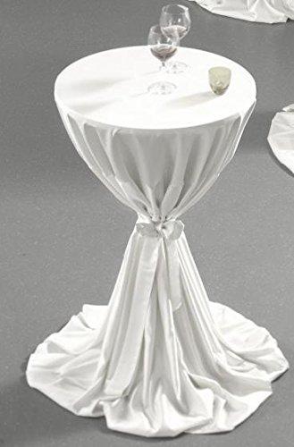 Gastro Uzal Stehtischhusse mit Schleife Set 2 teilig in weiß 70-80 cm rund Tischhusse überwurf Bistrotischhussen