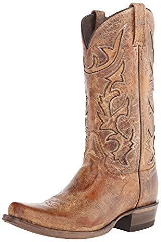 Stetson Men's Cracked Inlay Snip Toe Riding Boot, Brown, 9.5 D US