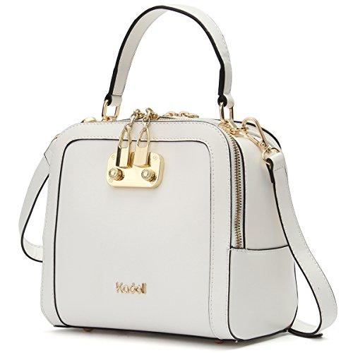 Kadell Frauen Leder Handtaschen Shell Form Top Griff Geldbörse mit abnehmbarem Armband Weiß (Entlang Gepäck)