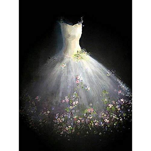 HYLBH Wandbild Diamantstickerei, Voll, DIY Hochzeitskleid Diamant Malerei Kreuzstich, Diamant...